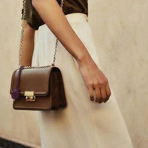 Massimo Dutti Olive Leather Cross Body Chain Bag